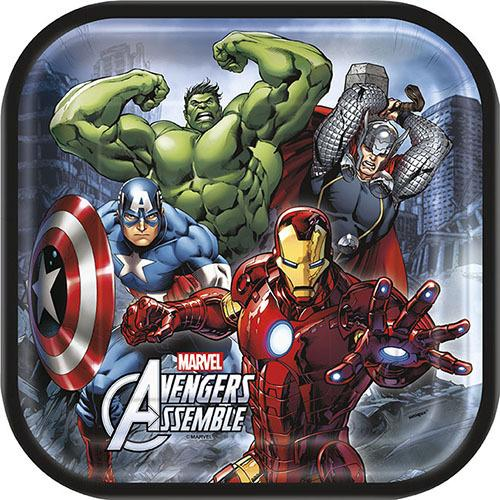 Marvel's Avengers 9 Inch Square Plates [8 Per Package]
