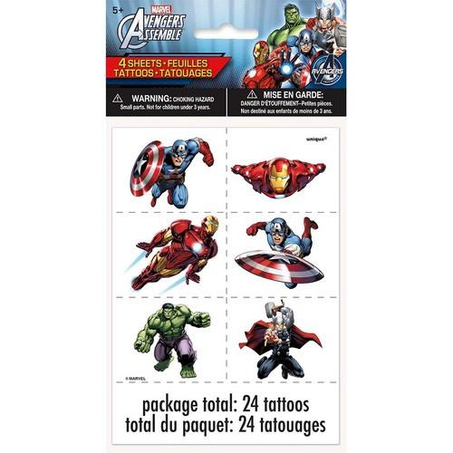 Marvel's Avengers Color Tattoo Sheets [ 4 Per Package]