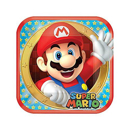Super Mario Bros 9 Inch Square Plates [8 per Package]