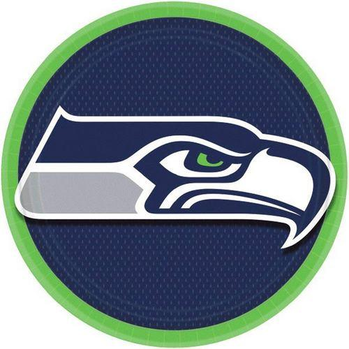 NFL Seattle Seahawks 9 Inch Round Plates [8 Pack]