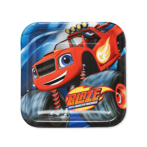 Blaze and the Monster Machines Square Plates [9 Inches - 8 Per Pack]