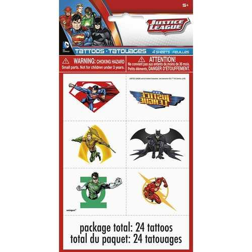 Justice League Temporary Tattoo Sheets [4 per Pack]