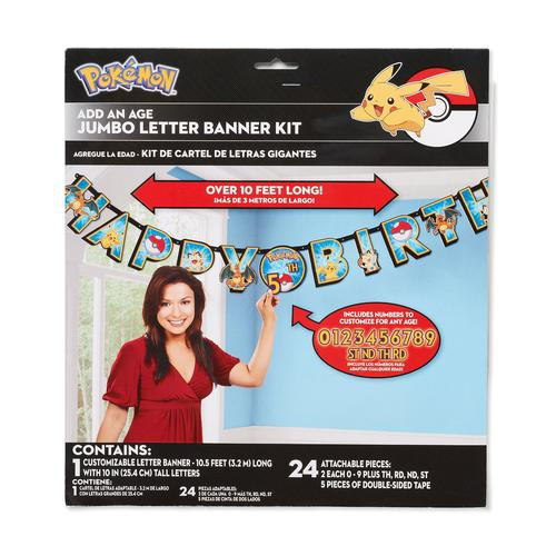 Pokemon Pikachu & Friends Jumbo Add-An-Age Letter Party Banner