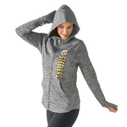 NFL Pittsburgh Steelers Women's Recovery Grey Full Zip Hoodie - XL