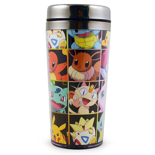 Pokemon Pikachu Stainless Steel Travel Mug - Character Mosaic Design