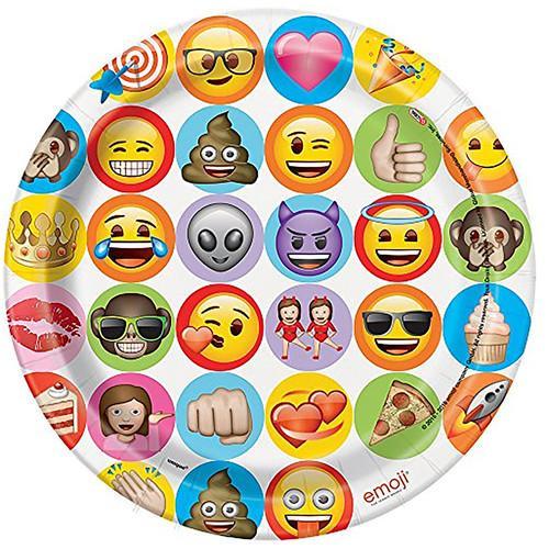 Emoji Celebration 9 Inch Dinner Plates [8 per Pack]