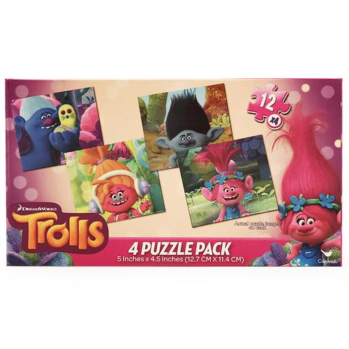 Trolls 4-Puzzle Pack - 4 Puzzles with 12 Pieces Each