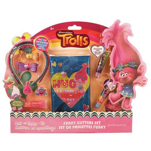 TownleyGirl Trolls Hair & Lip Gloss Set with Bonus Poppy Bag