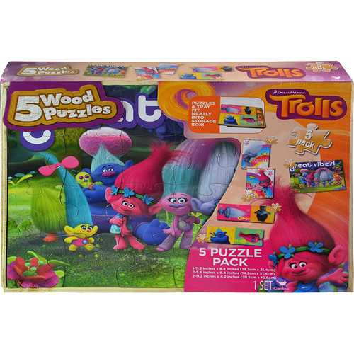 DreamWorks Trolls Wood Puzzle Pack [Pack of 5 Puzzles]