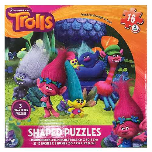 Dreamworks Trolls 3-Shaped Character Puzzles