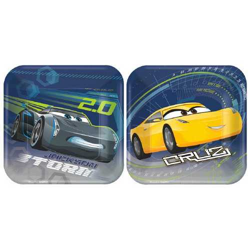 Cars 3 7-Inch Square Plates [8 per Package]