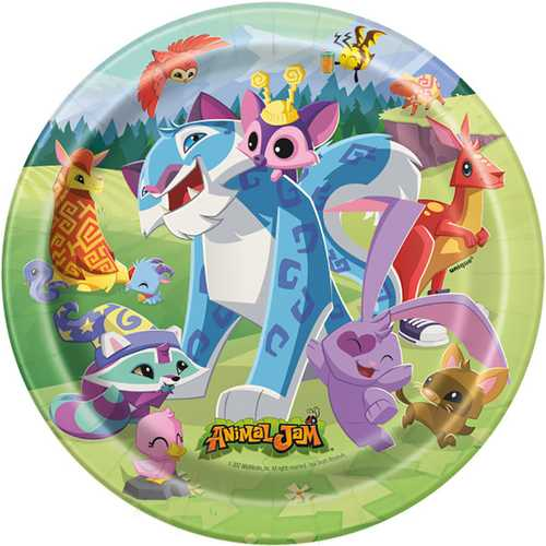 Animal Jam 7 Inch Plates [8 Per Pack]