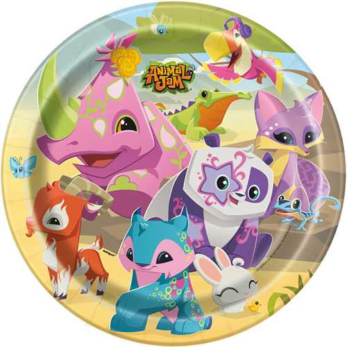 Animal Jam 9 Inch Plates [8 Per Pack]