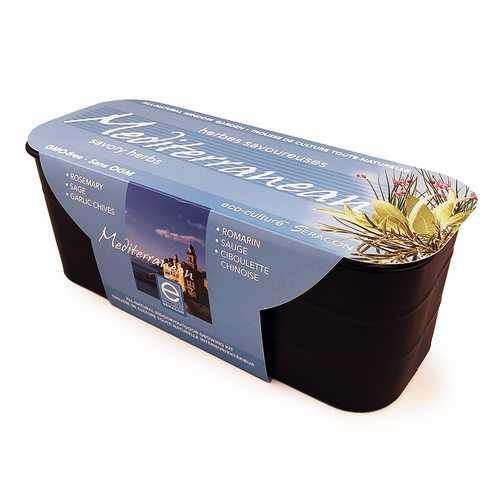 Mediterranean Savoury Herbs All-Natural Window Gardening Kit - GMO-free - Rosemary, Sage, Garlic Chives