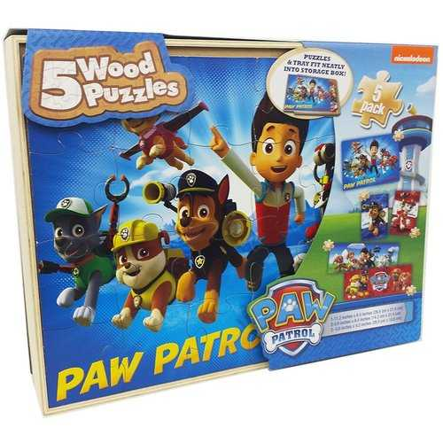 Paw Patrol 5 Wood Puzzles in Wooden Storage Box