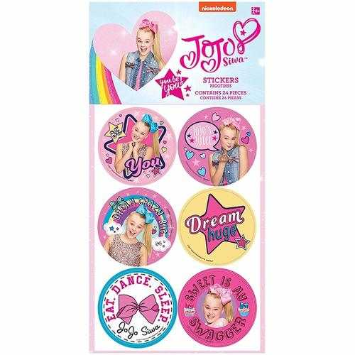 JoJo Siwa Birthday Party Stickers - 4 Sheets Per Package