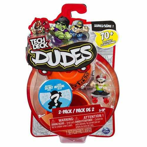 Tech Deck Dudes - 2-Pack Collectible Skater Figures with Boards (Styles and Colors May Vary)