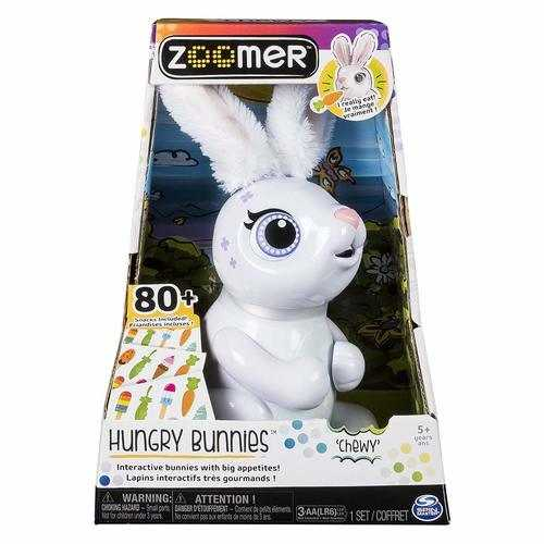 Zoomer Hungry Bunnies, Chewy, Interactive Robotic Rabbit That Eats - White