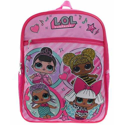 LOL Surprise School Backpack - Four Friends with Front Pocket - Pink - 16 Inches