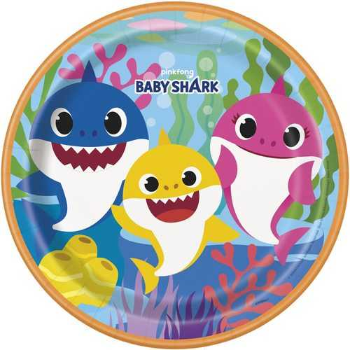 Baby Shark 9 Inch Plates [8 Per Package]
