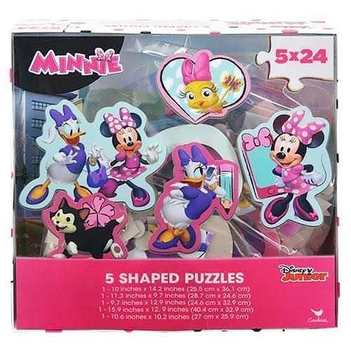 Disney Minnie Mouse 5 Shaped Puzzles [24 Pieces Each]