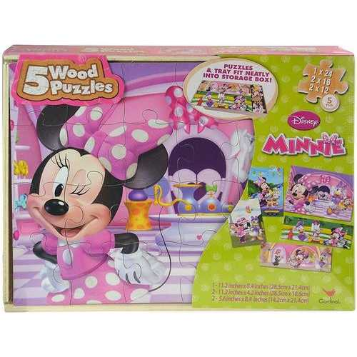 Disney Minnie Mouse 5 Wood Puzzles with BONUS Puzzle Tray