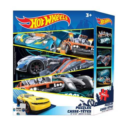 Hot Wheels 3-Puzzle Pack - 3x 24 Piece Puzzles