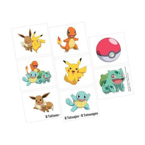 Pokemon Party Temporary Tattoos [8 per Package]