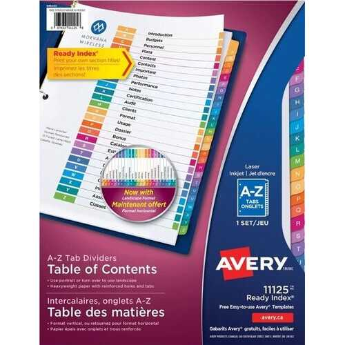 Avery Ready Index A-Z Tab Binder Dividers Customizable Table of Contents Multicolour Tabs 1 Set (11125)