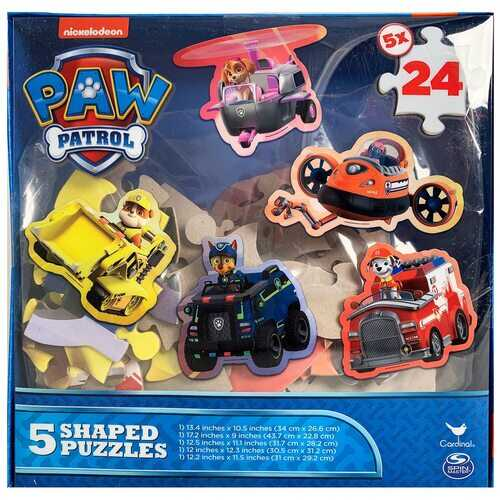 Paw Patrol 5-Shaped Puzzles - 5 puzzles with 24 Pieces Each