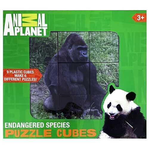 Animal Planet Endangered Species Puzzle Cubes - 9 Plastic Cubes Make 6 Different Puzzles