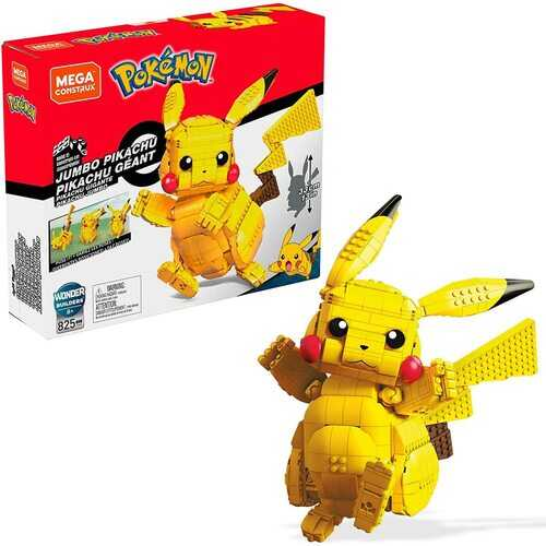 Mega Construx Pokemon Jumbo Pikachu Construction Set with character figures, Building Toys for Kids (825 Pieces)