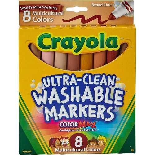 Crayola Markers, Multicultural Washable, 8-Count, School and Craft Supplies,