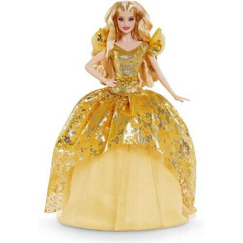 Barbie Signature 2020 Holiday Barbie Doll (12-inch Blonde Long Hair) in Golden Gown, with Doll Stand and Certificate of Authenticity