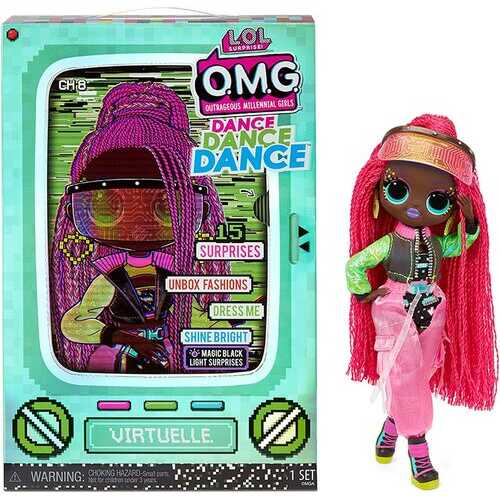 LOL Surprise OMG Dance Dance Dance Virtuelle Fashion Doll with 15 Surprises Including Magic Blacklight, Shoes, Hair Brush, Doll Stand and TV Package