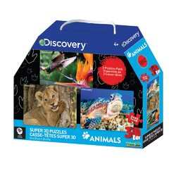Discovery Channel 3D Three Puzzle Pack - 48/63 Piece Puzzles