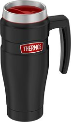 Thermos King, 16 oz. Stainless Steel Travel Mug, Black/Red