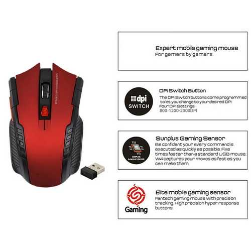 2400DPI Professional Gamer Optical 2.4Ghz Wireless Mouse