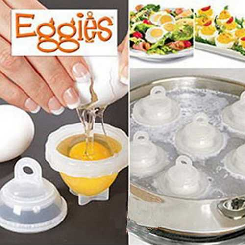 7Pcs/Set Hard Boil Egg Cooker 6 Eggies Without Shells + 1 White Egg Separator Egg Steamer For Kitchen Egg Cooking Tool