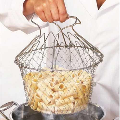 Foldable Steam Rinse Deep Fry French Chef Basket Magic Basket Mesh Basket Strainer Net Stainless Colander