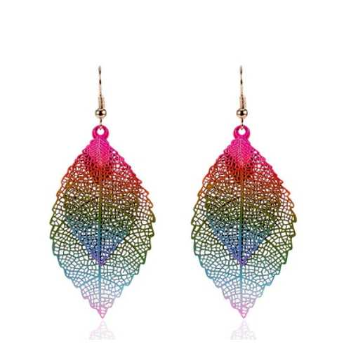 Vintage Leaves Drop Earrings Boho Bohemian Leaf