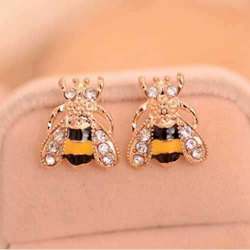 Golden Small Bee Insect Stud Earrings