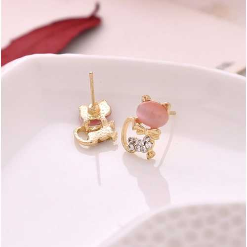 Cute Cat Stone Women Stud Earrings