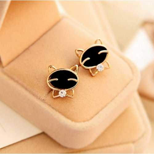 Black Smiling Cat Delicate Golden Earring