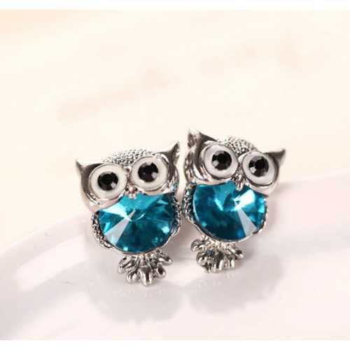 Crystal Owl Girls Stud Earrings