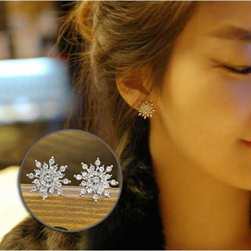 Silver Stud Snowflake Earrings Fashion