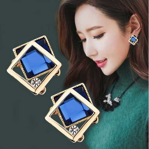 Square Crystal Gem Stud Earrings