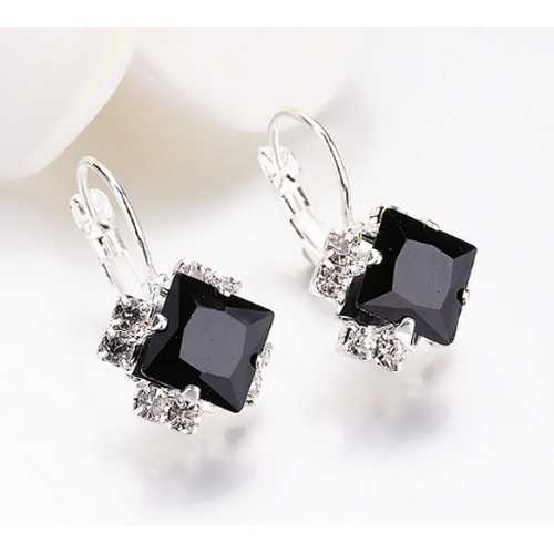 Rhinestones Square Earrings Wedding Girls