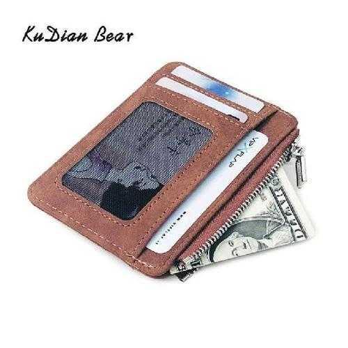 Simple Men Card Holder Package Organizer Leather Front Pocket Id Case Travel Wallet