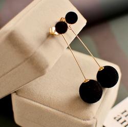 Cute Double Faux Fur Pom Pom Ball Drop Earrings